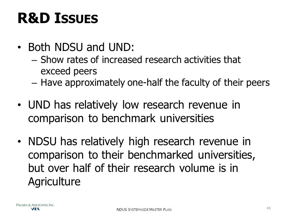 R&D I SSUES Both NDSU and UND: – Show rates of increased research activities that exceed peers – Have approximately one-half the faculty of their peer