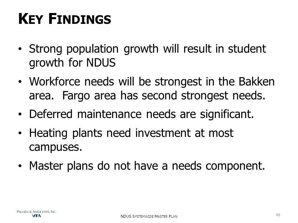 K EY F INDINGS Strong population growth will result in student growth for NDUS Workforce needs will be strongest in the Bakken area. Fargo area has se
