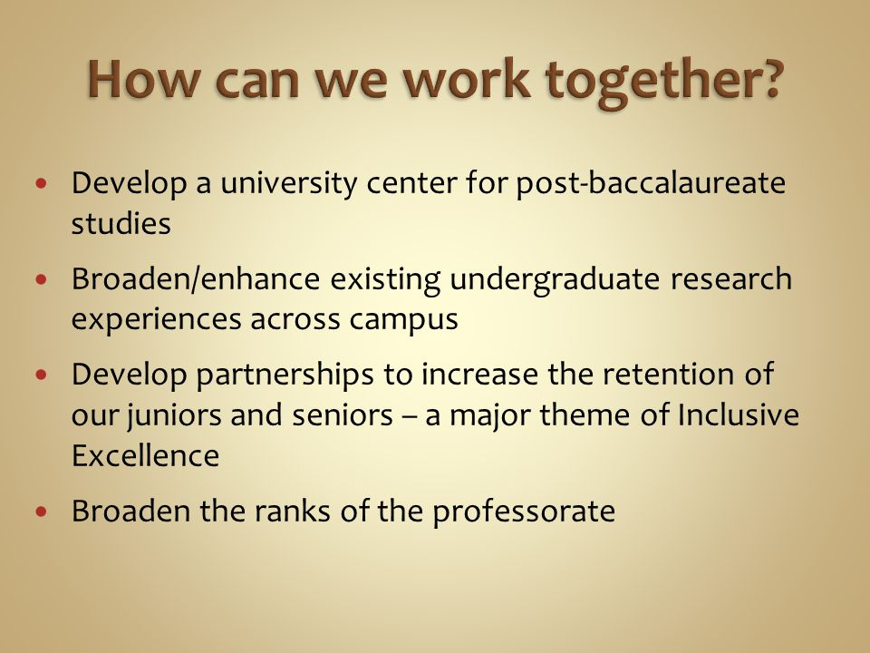 Develop a university center for post-baccalaureate studies Broaden/enhance existing undergraduate research experiences across campus Develop partnersh