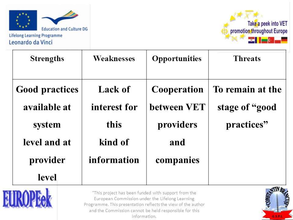 StrengthsWeaknessesOpportunities Threats Good practices available at system level and at provider level Lack of interest for this kind of information