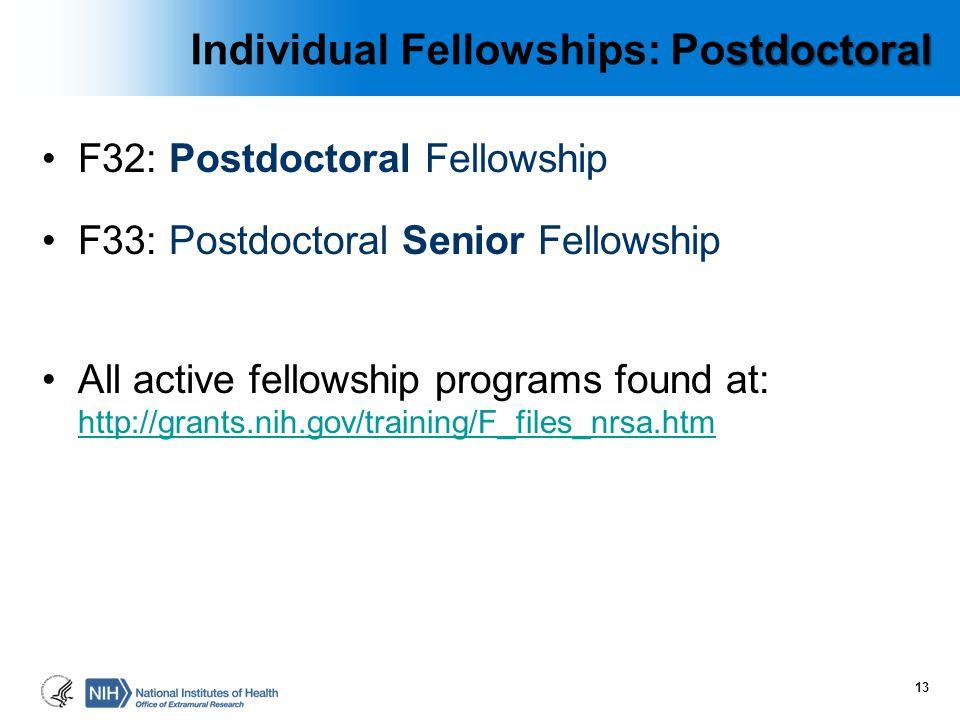 stdoctoral Individual Fellowships: Postdoctoral F32: Postdoctoral Fellowship F33: Postdoctoral Senior Fellowship All active fellowship programs found
