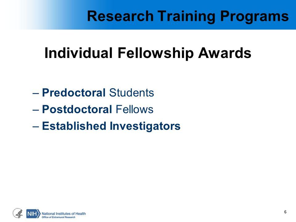 Individual Fellowship Awards –Predoctoral Students –Postdoctoral Fellows –Established Investigators 6 Research Training Programs