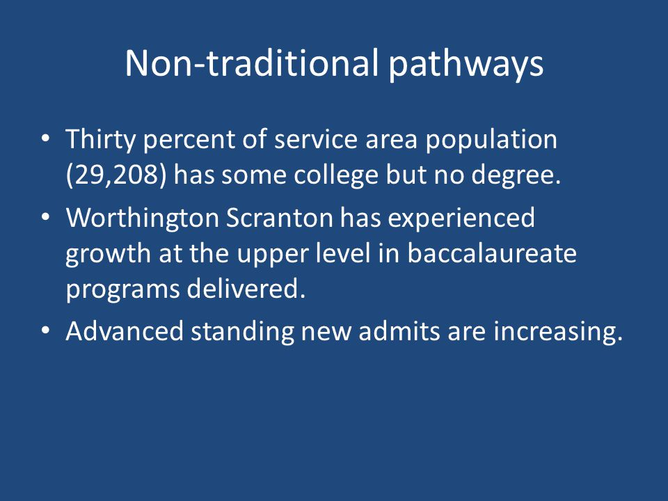 Non-traditional pathways Thirty percent of service area population (29,208) has some college but no degree.