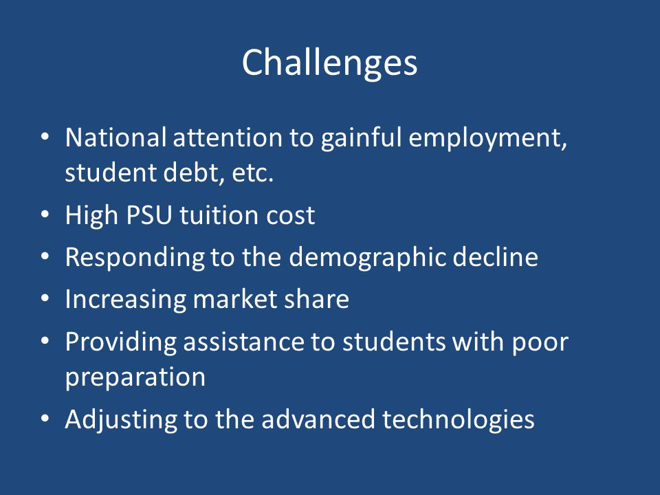 Challenges National attention to gainful employment, student debt, etc.