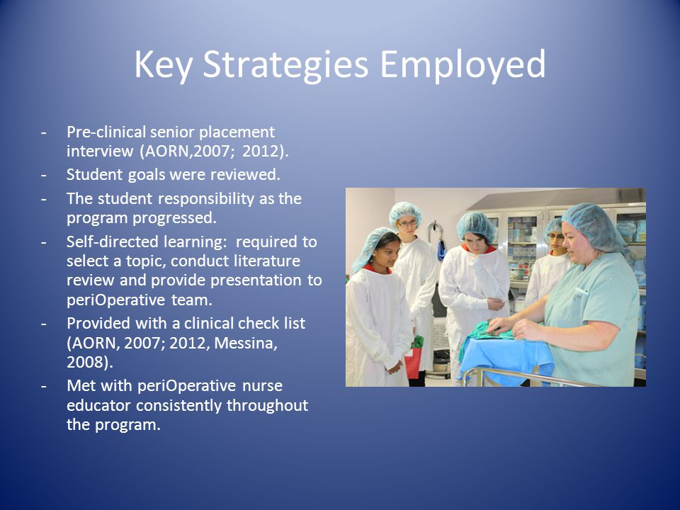 Key Strategies Employed -Pre-clinical senior placement interview (AORN,2007; 2012).