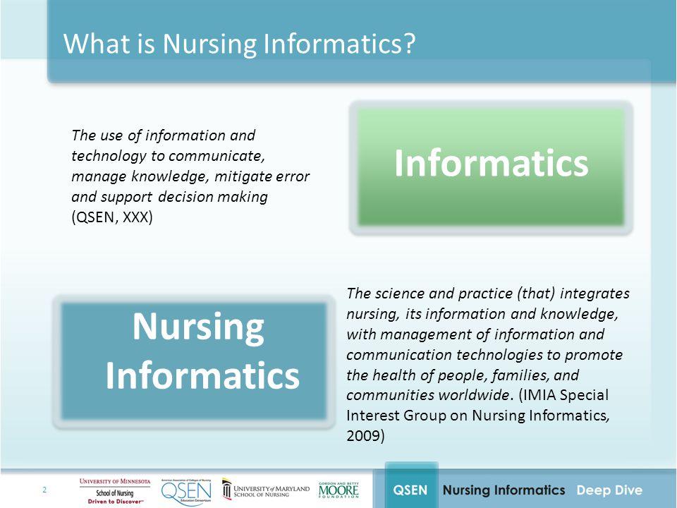 3 The Knowledge behind Nursing Informatics Nursing Science Information Science Computer Science