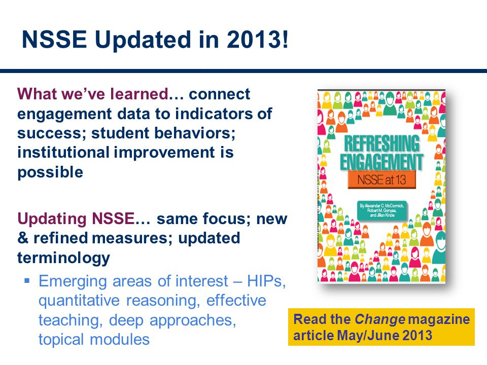 NSSE Updated in 2013.
