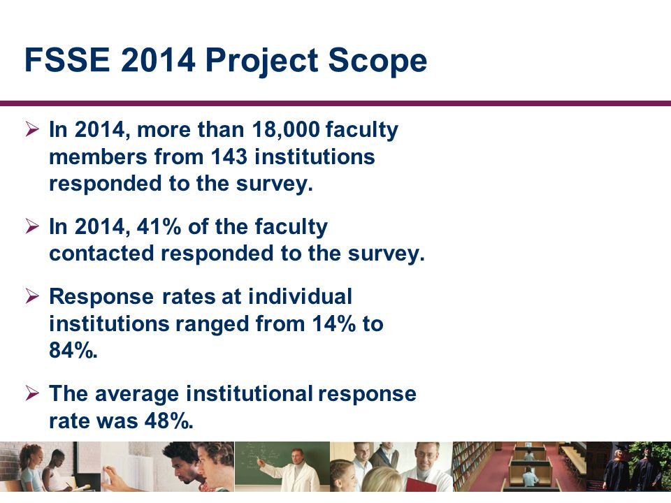 FSSE 2014 Project Scope  In 2014, more than 18,000 faculty members from 143 institutions responded to the survey.