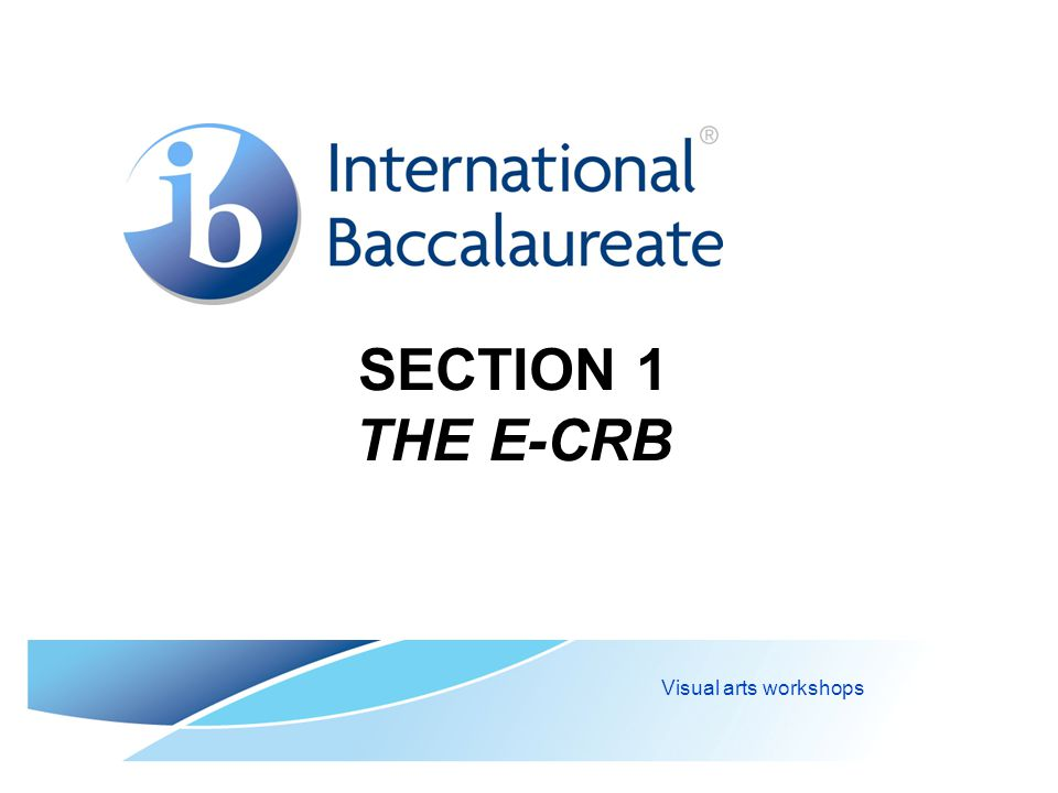 SECTION 1 THE E-CRB Visual arts workshops