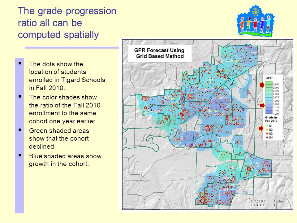 The grade progression ratio all can be computed spatially  The dots show the location of students enrolled in Tigard Schools in Fall 2010.  The colo