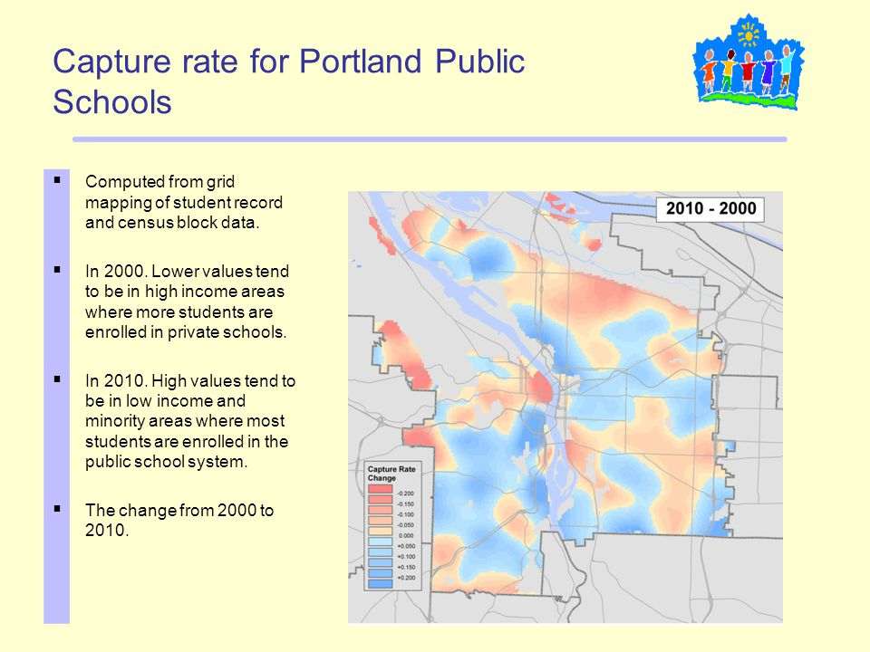 Capture rate for Portland Public Schools  Computed from grid mapping of student record and census block data.  In 2000. Lower values tend to be in h
