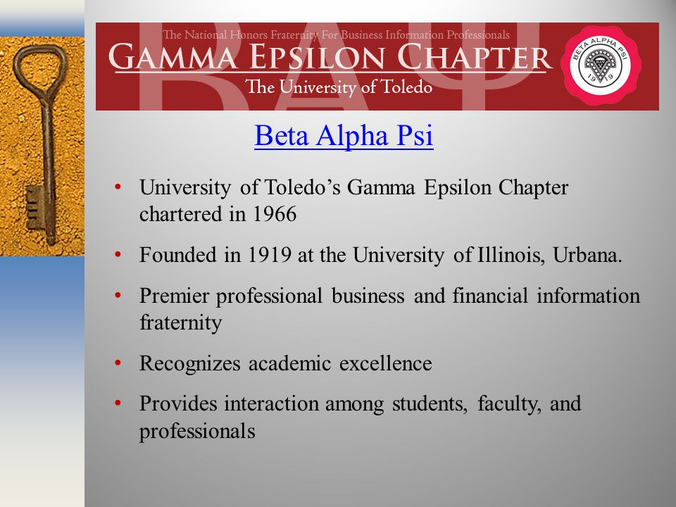 University of Toledo's Gamma Epsilon Chapter chartered in 1966 Founded in 1919 at the University of Illinois, Urbana.