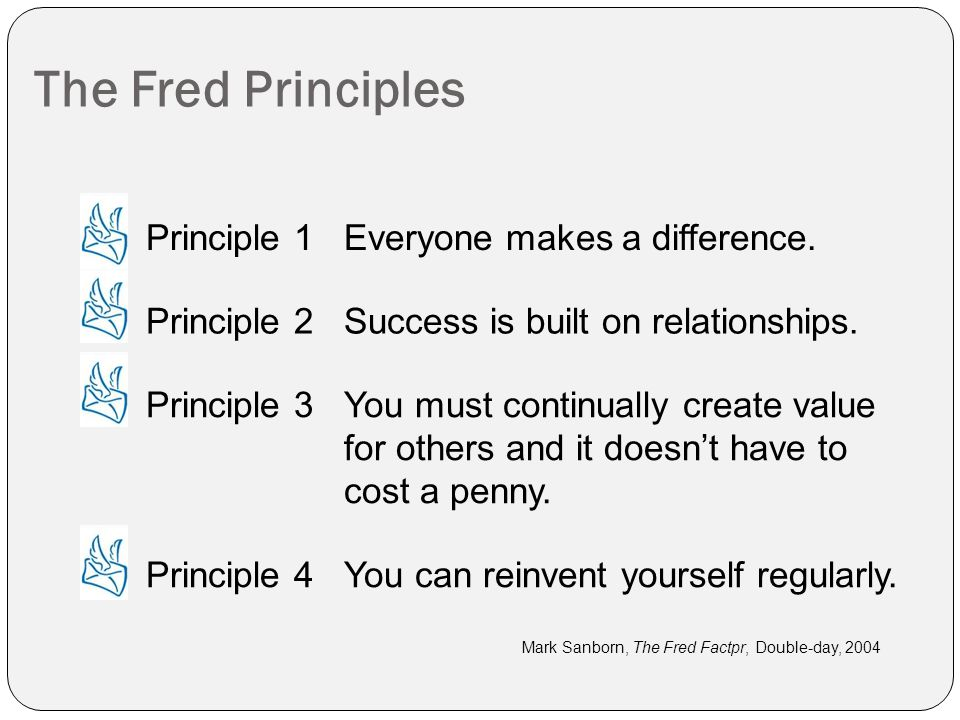 The Fred Principles Mark Sanborn, The Fred Factpr, Double-day, 2004 Principle 1Everyone makes a difference.