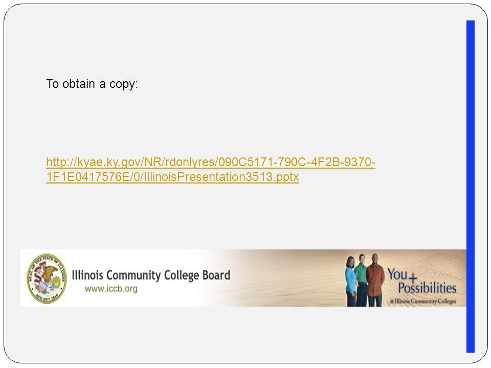 http://kyae.ky.gov/NR/rdonlyres/090C5171-790C-4F2B-9370- 1F1E0417576E/0/IllinoisPresentation3513.pptx To obtain a copy: