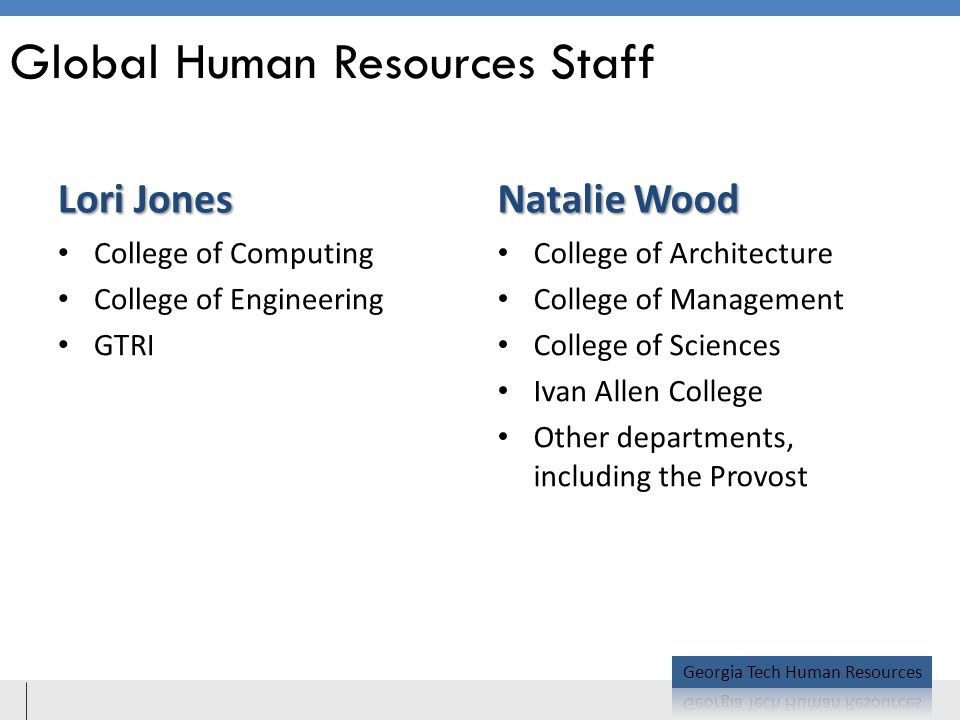 Global Human Resources Staff Lori Jones Natalie Wood College of Computing College of Engineering GTRI College of Architecture College of Management College of Sciences Ivan Allen College Other departments, including the Provost