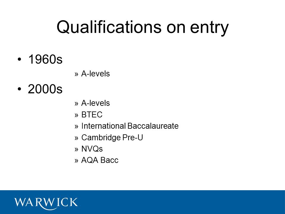 Qualifications on entry 1960s »A-levels 2000s »A-levels »BTEC »International Baccalaureate »Cambridge Pre-U »NVQs »AQA Bacc