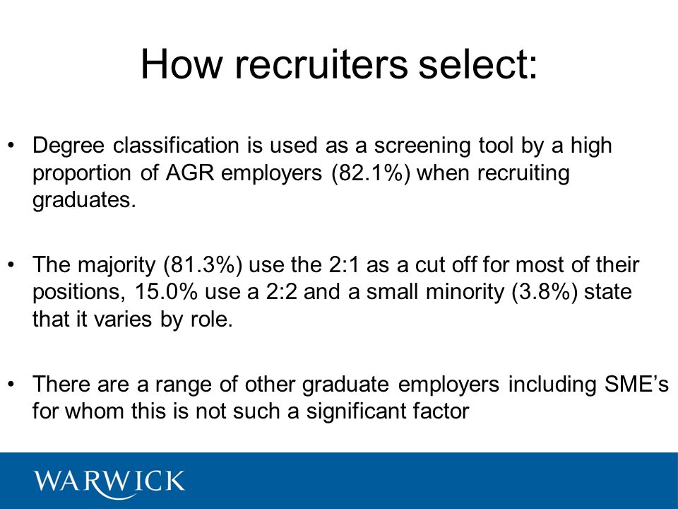How recruiters select: Degree classification is used as a screening tool by a high proportion of AGR employers (82.1%) when recruiting graduates.