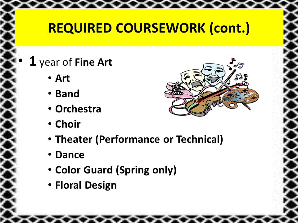 REQUIRED COURSEWORK (cont.) 1 year of Fine Art Art Band Orchestra Choir Theater (Performance or Technical) Dance Color Guard (Spring only) Floral Design