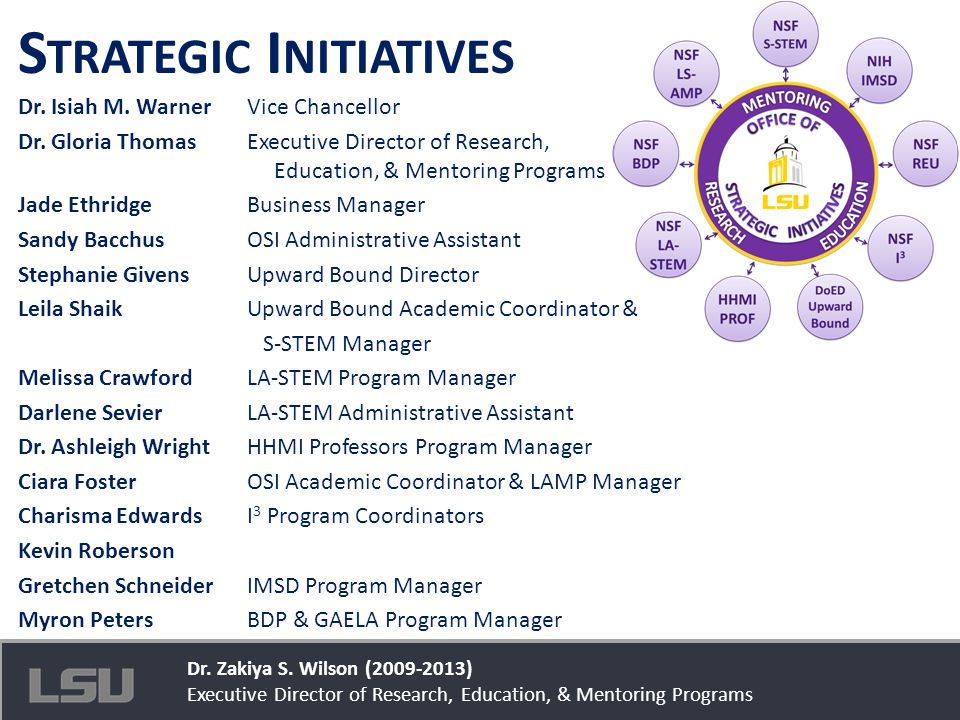 Office of Strategic Initiatives S TRATEGIC I NITIATIVES Dr. Isiah M. WarnerVice Chancellor Dr. Gloria ThomasExecutive Director of Research, Education,