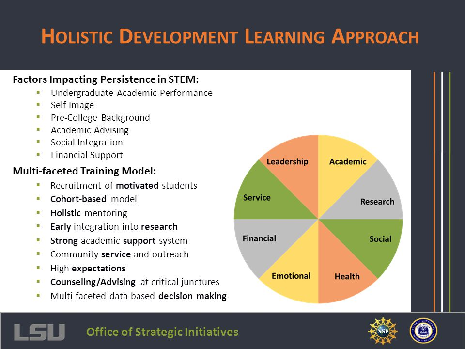 Multi-faceted Training Model:  Recruitment of motivated students  Cohort-based model  Holistic mentoring  Early integration into research  Strong
