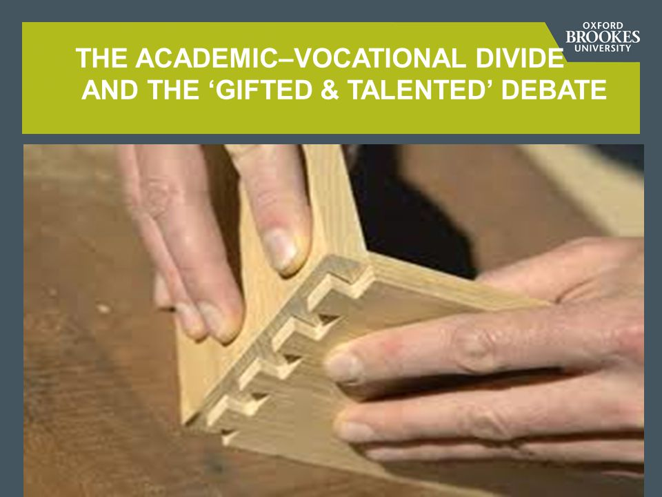 FACTORS MAINTAINING THE ACADEMIC-VOCATIONAL DIVIDE 1  philosophical legacy of mind-body dualism (Plato, Descartes)  educational theories privileging abstract over concrete thinking (e g Piaget)  Taylorism, ie assembly-line efficiencies of production  the British class system: assumptions and manifestations