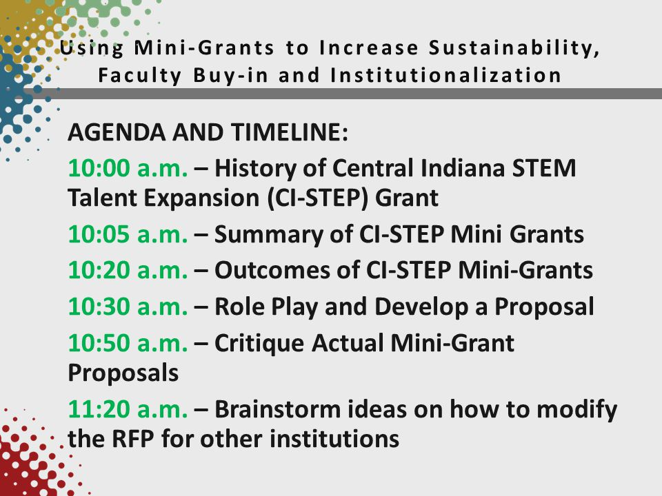 Using Mini-Grants to Increase Sustainability, Faculty Buy-in and Institutionalization AGENDA AND TIMELINE: 10:00 a.m.