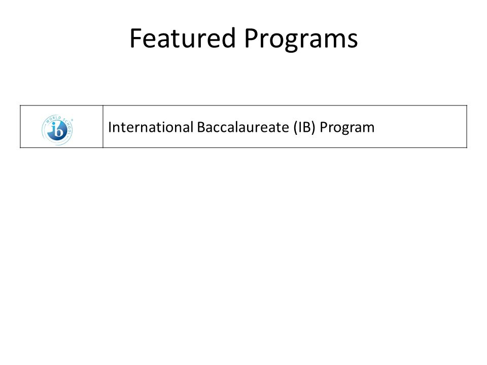 Featured Programs International Baccalaureate (IB) Program