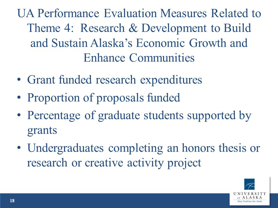 UA Performance Evaluation Measures Related to Theme 4: Research & Development to Build and Sustain Alaska's Economic Growth and Enhance Communities Grant funded research expenditures Proportion of proposals funded Percentage of graduate students supported by grants Undergraduates completing an honors thesis or research or creative activity project 18
