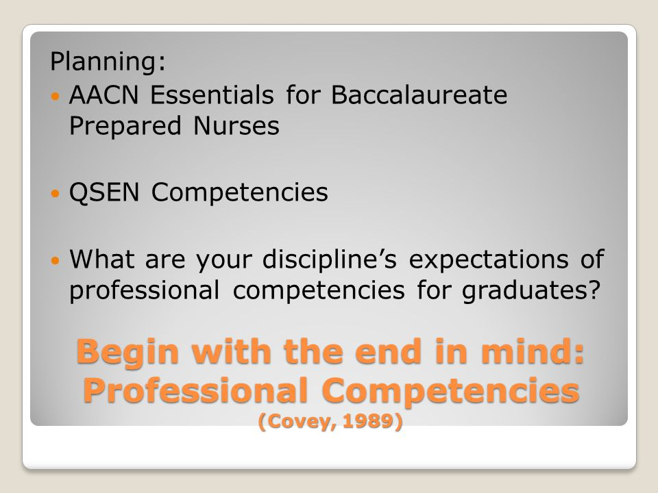 Begin with the end in mind: Professional Competencies (Covey, 1989) Planning: AACN Essentials for Baccalaureate Prepared Nurses QSEN Competencies What