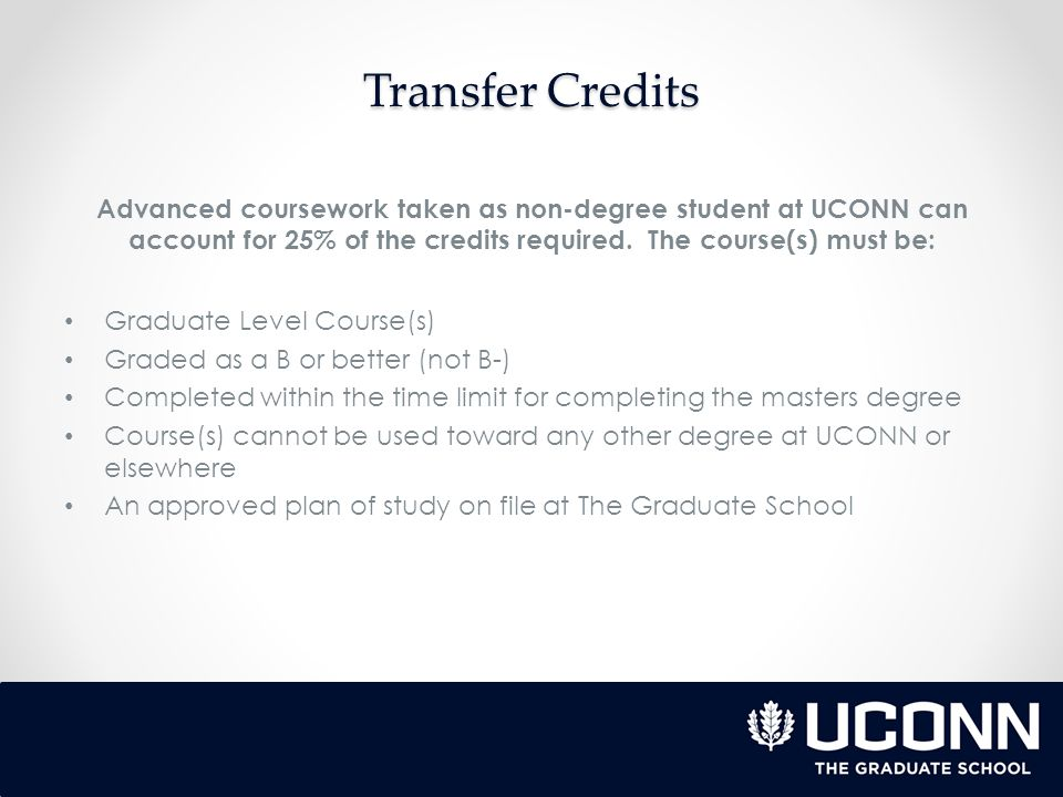 Up to 25% of advanced coursework taken at other accredited institutions may be transferred providing the conditions are met: An approved plan of study is on file with The Graduate School The Transfer Credit Request Form is approved and signed by the major advisor The course(s) are graduate level course(s) Course work completed within the time limit for completing a master's degree Grades are a B (not B-) or better Official transcript form the accredited institution Course(s) have not been applied toward any degree already completed or to be completed in the future