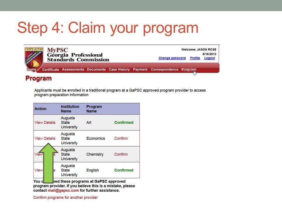 Step 4: Claim/Confirm your program