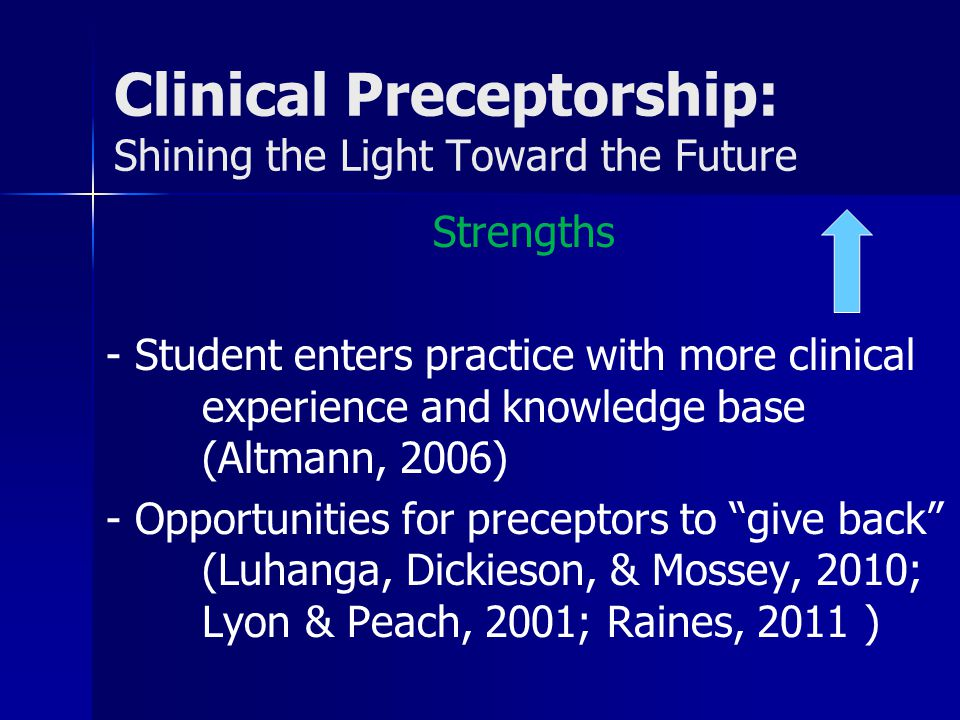 Clinical Preceptorship: Shining the Light Toward the Future Strengths - Student enters practice with more clinical experience and knowledge base (Altmann, 2006) - Opportunities for preceptors to give back (Luhanga, Dickieson, & Mossey, 2010; Lyon & Peach, 2001; Raines, 2011 )
