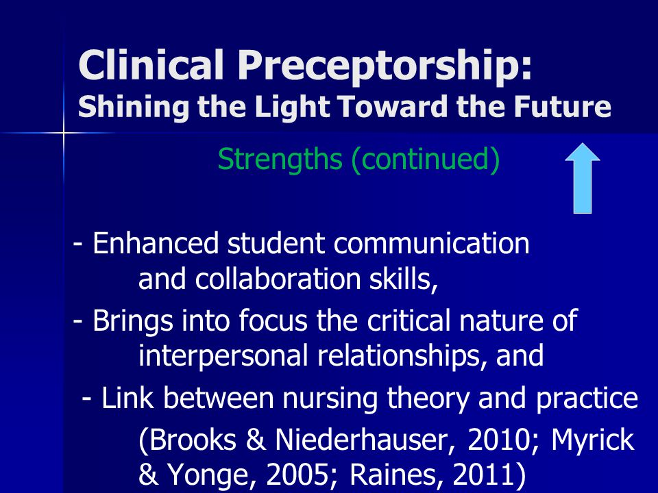 Clinical Preceptorship: Shining the Light Toward the Future Strengths (continued) - Enhanced student communication and collaboration skills, - Brings