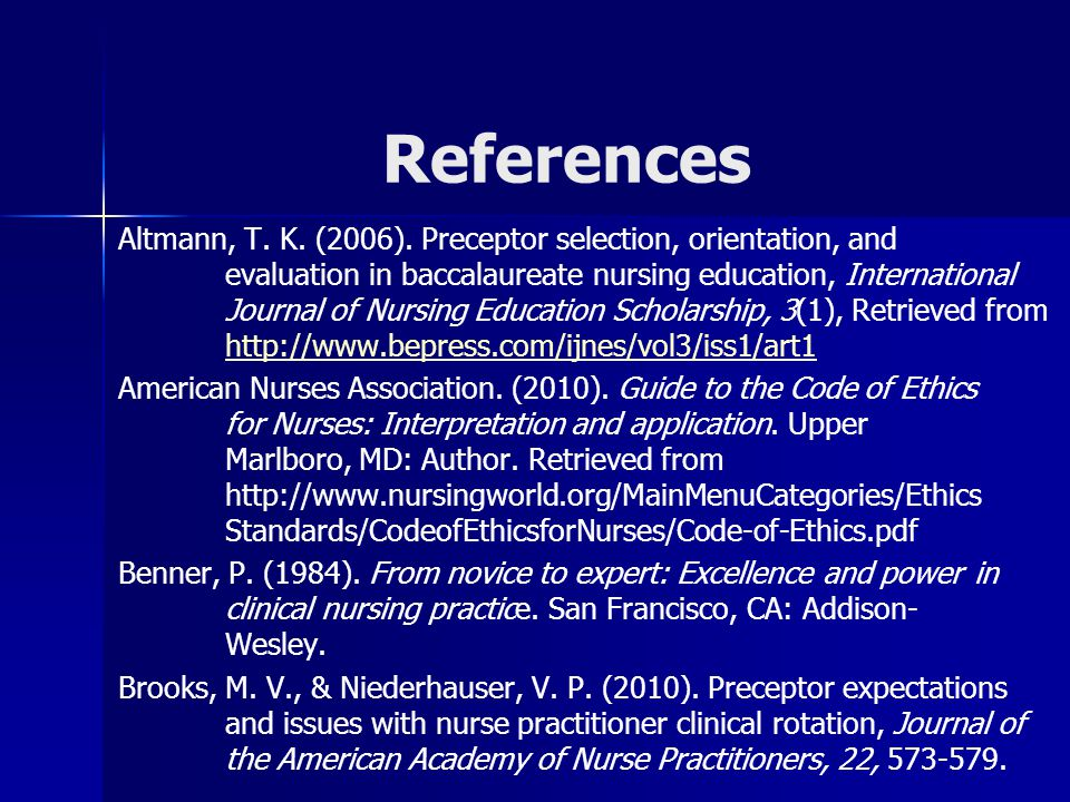 References Altmann, T. K. (2006).