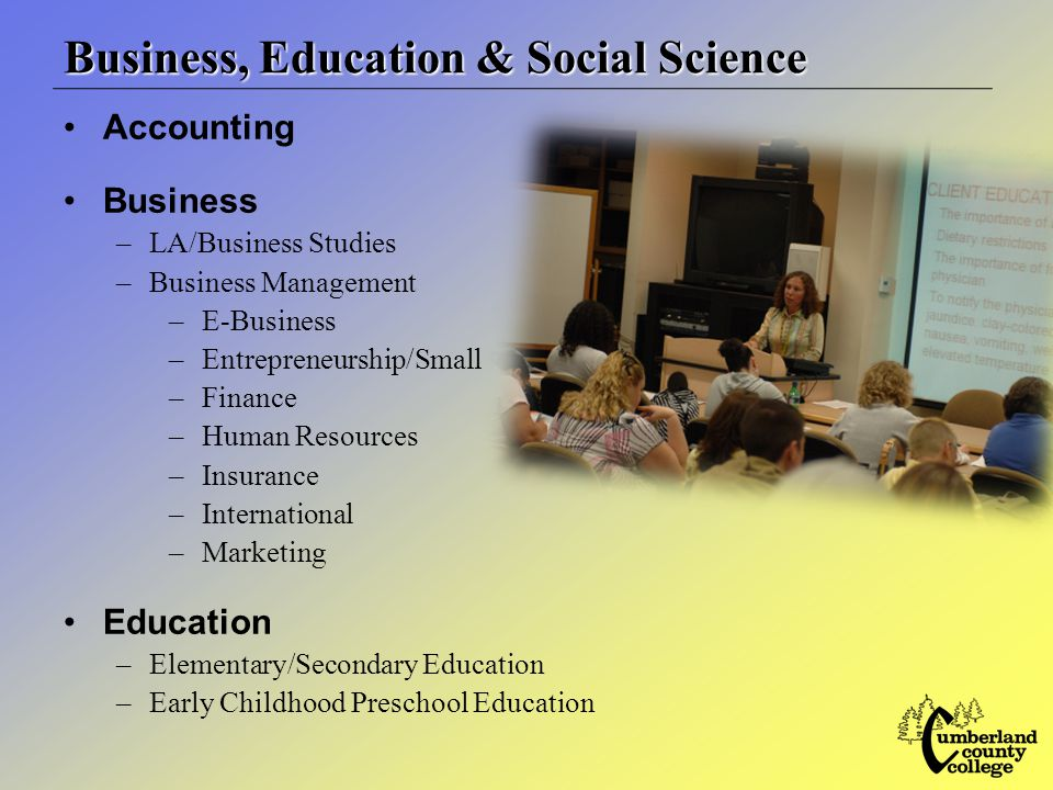 Business, Education & Social Science Accounting Business –LA/Business Studies –Business Management –E-Business –Entrepreneurship/Small –Finance –Human Resources –Insurance –International –Marketing Education –Elementary/Secondary Education –Early Childhood Preschool Education