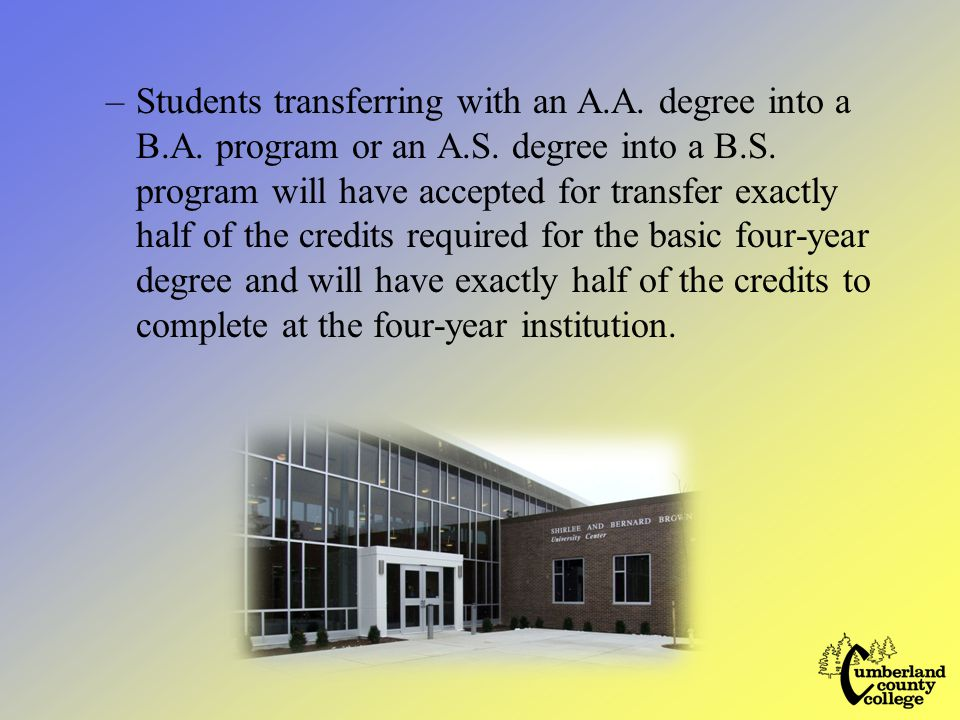 –Students transferring with an A.A. degree into a B.A.