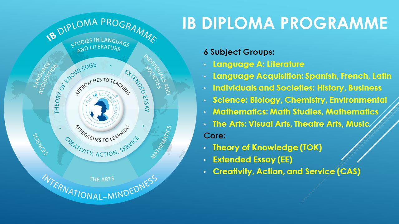 IB DIPLOMA PROGRAMME 6 Subject Groups: Language A: Literature Language Acquisition: Spanish, French, Latin Individuals and Societies: History, Business Science: Biology, Chemistry, Environmental Mathematics: Math Studies, Mathematics The Arts: Visual Arts, Theatre Arts, Music Core: Theory of Knowledge (TOK) Extended Essay (EE) Creativity, Action, and Service (CAS)