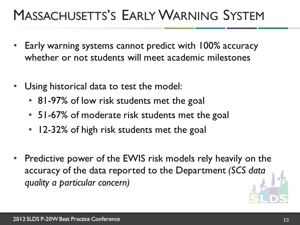 2012 SLDS P-20W Best Practice Conference Early warning systems cannot predict with 100% accuracy whether or not students will meet academic milestones