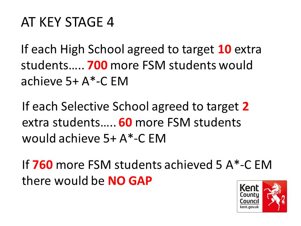AT KEY STAGE 4 If each High School agreed to target 10 extra students…..
