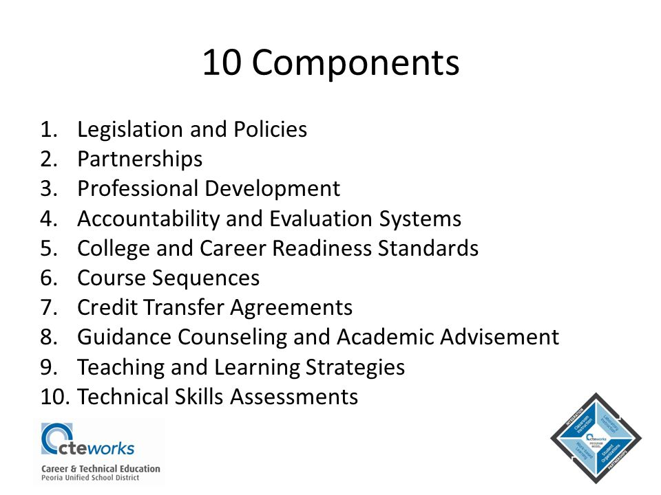 10 Components 1.Legislation and Policies 2.Partnerships 3.Professional Development 4.Accountability and Evaluation Systems 5.College and Career Readin