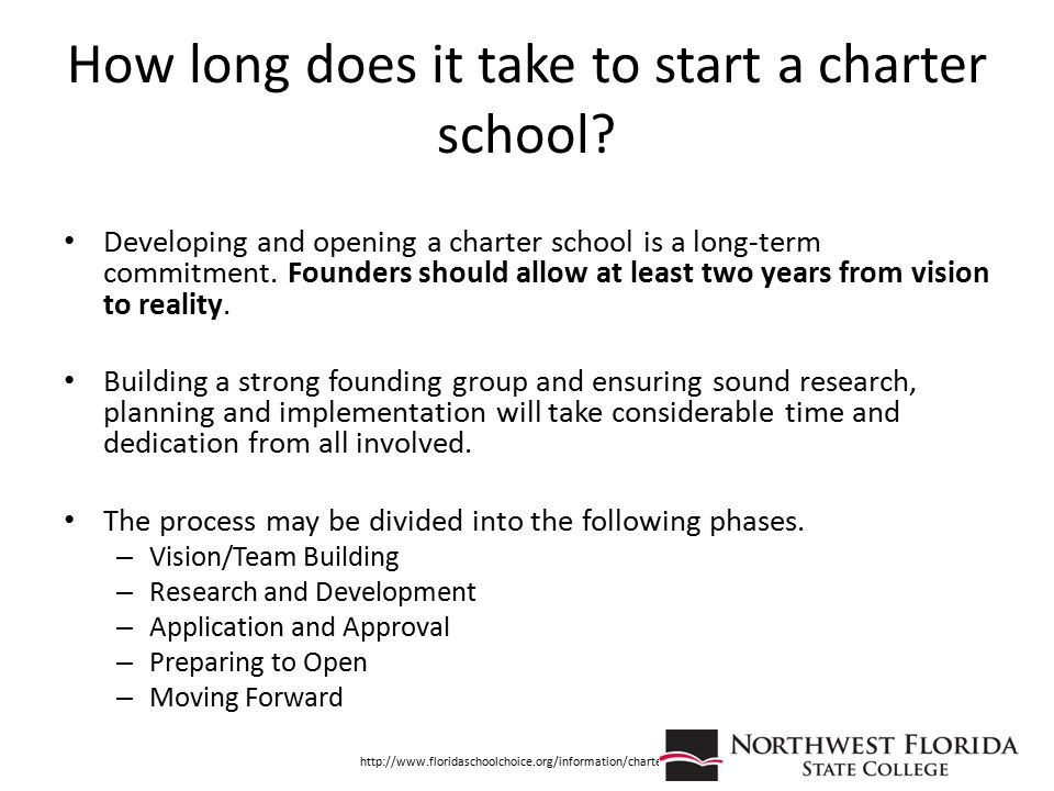 How long does it take to start a charter school? Developing and opening a charter school is a long-term commitment. Founders should allow at least two