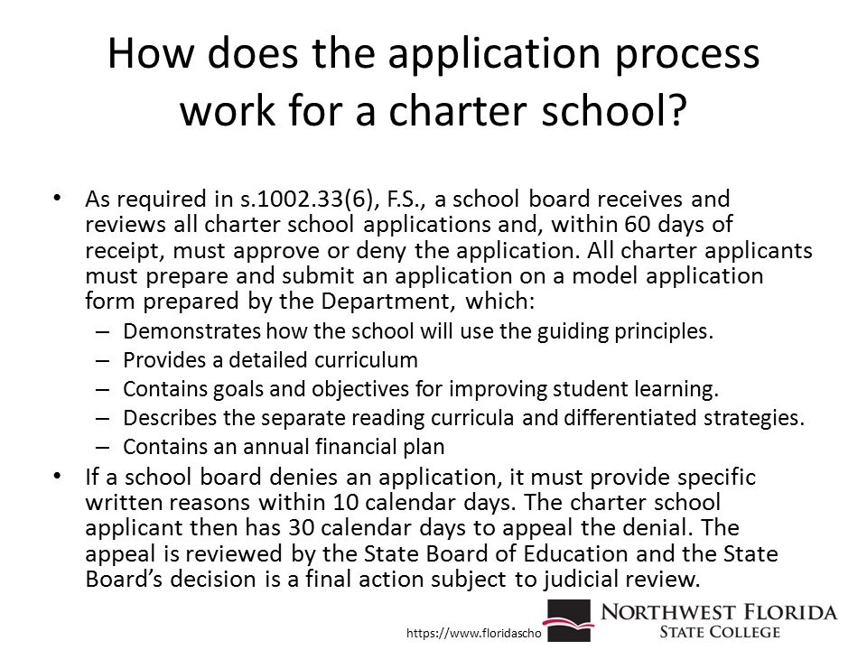 How does the application process work for a charter school? As required in s.1002.33(6), F.S., a school board receives and reviews all charter school