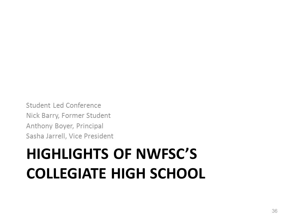 HIGHLIGHTS OF NWFSC'S COLLEGIATE HIGH SCHOOL Student Led Conference Nick Barry, Former Student Anthony Boyer, Principal Sasha Jarrell, Vice President