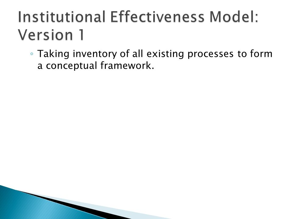 ◦ Taking inventory of all existing processes to form a conceptual framework.