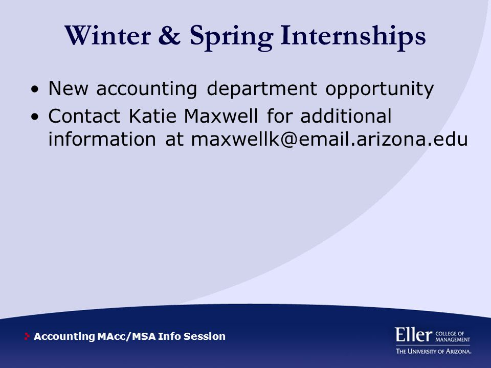 Accounting MAcc/MSA Info Session Why a Masters Degree.