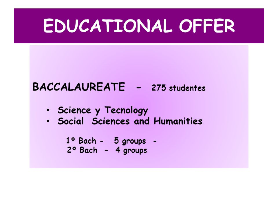 EDUCATIONAL OFFER BACCALAUREATE - 275 studentes Science y Tecnology Social Sciences and Humanities 1º Bach - 5 groups - 2º Bach - 4 groups