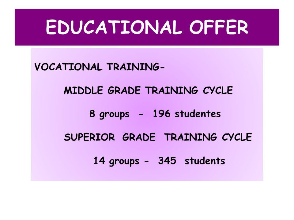 EDUCATIONAL OFFER VOCATIONAL TRAINING- MIDDLE GRADE TRAINING CYCLE 8 groups - 196 studentes SUPERIOR GRADE TRAINING CYCLE 14 groups - 345 students