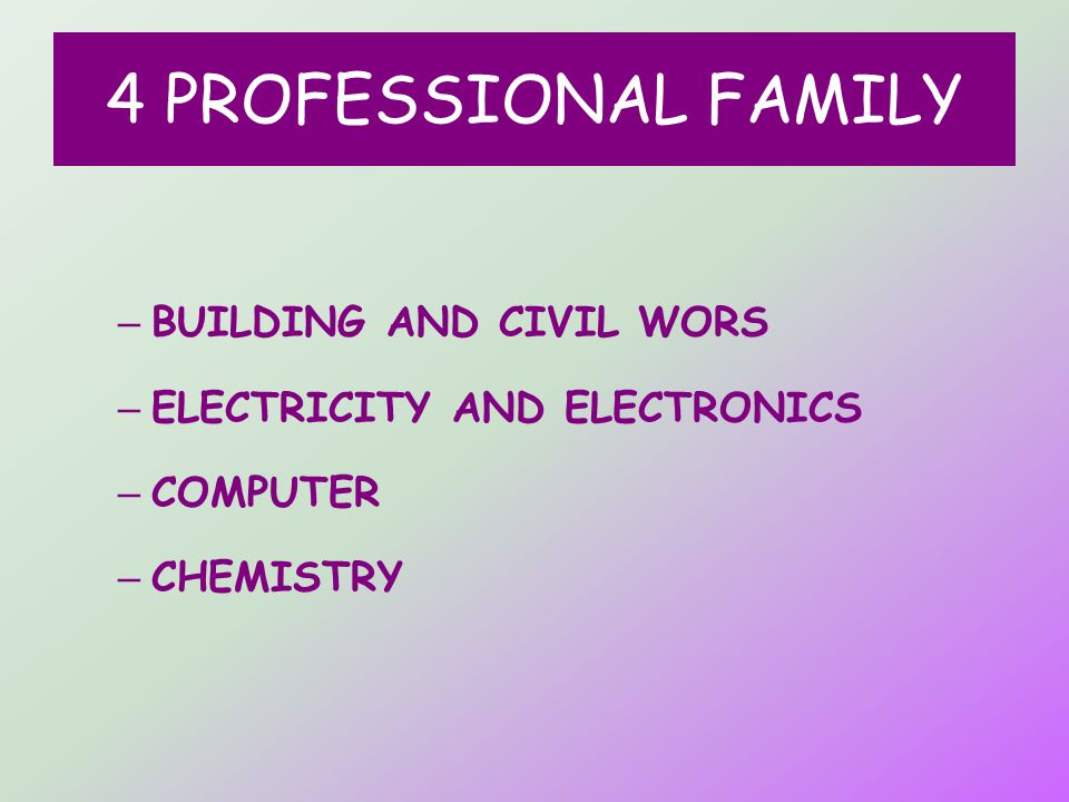 4 PROFESSIONAL FAMILY – BUILDING AND CIVIL WORS – ELECTRICITY AND ELECTRONICS – COMPUTER – CHEMISTRY
