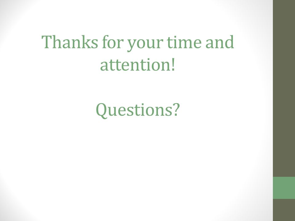 Thanks for your time and attention! Questions