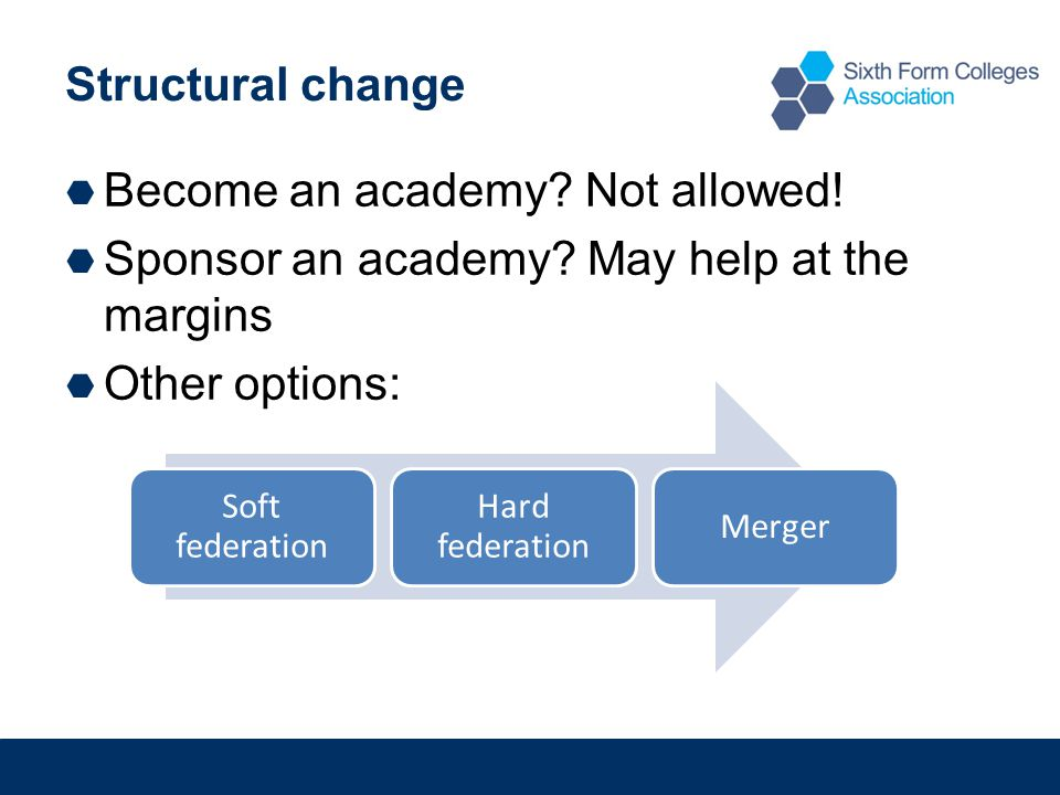 Structural change  Become an academy.Not allowed.